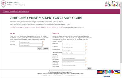 claires court parent user interface (customised)